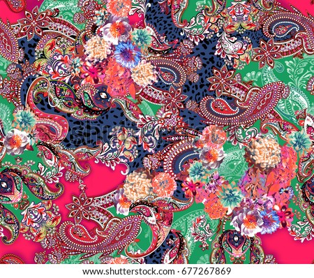 Multicolor flowers and paisley floral seamless print.