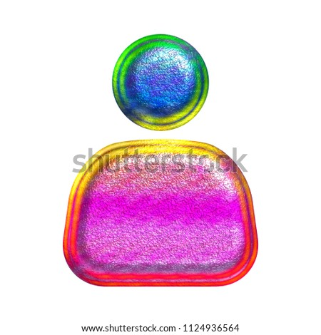 Multicolor fun painted metallic person or figure shape in a 3D illustration with a shiny metal texture & colorful paint style isolated on a white background with clipping path