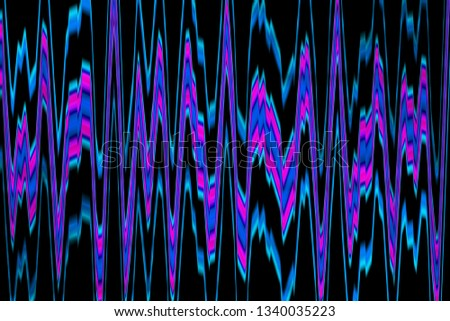 Multicolor glowing twisted lines on black background. Shiny neon fractal. Blurred motion. Amplitudes modulation. Abstract psychedelic illustration. Wide format