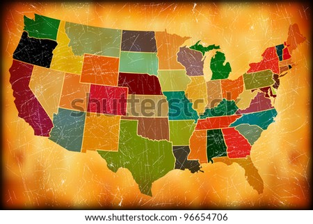 Multicolor Grunge USA Map