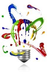 Multicolor paint orbit around painted light bulb