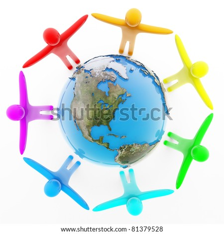 Multicolor peoples holding hands around the Earth, top view, isolated on white