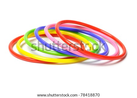 Multicolor plastic bangles isolated on white background