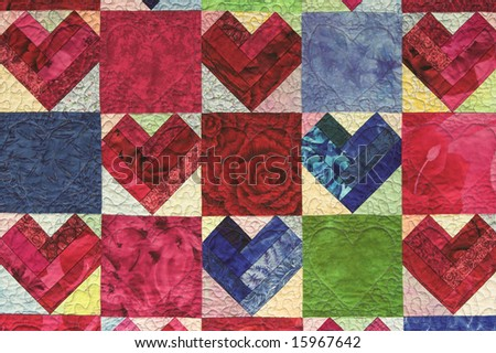 Multicolor Quilt with Hearts for Valentines