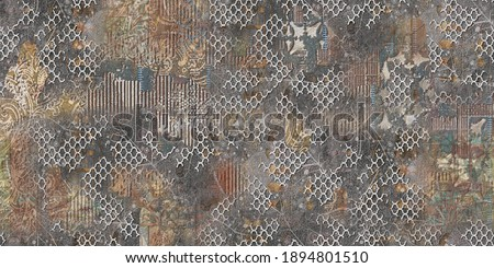 Multicolor Rustic Digital Wall Tile Decor For interior Home or Rustic Ceramic wall tile Design, Heavily Mixed Wall Art Decor For Home, wallpaper, linoleum, textile, background ストックフォト ©