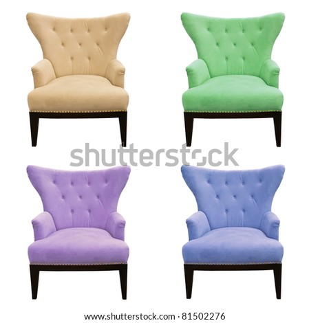 multicolor set of sofa isolated on white background