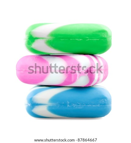 Multicolor soap on white background