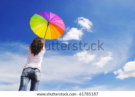 Multicolor umbrella asia woman