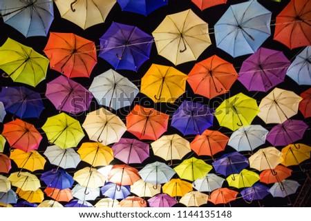 multicolor umbrellas decoration, Odessa, Ukraine, night sky #1144135148