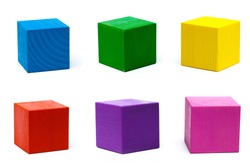 multicolor wooden game cube