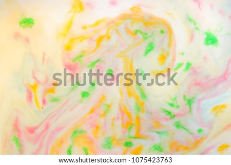 Multicolored abstract background, multicolored pattern of paints on liquid, blank for designer, paint divorces in milk, bright texture on white background, minimalism, creative blank for wallpaper #1075423763