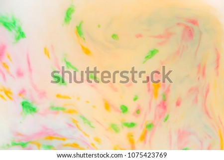 Multicolored abstract background, multicolored pattern of paints on liquid, blank for designer, paint divorces in milk, bright texture on white background, minimalism, creative blank for wallpaper #1075423769