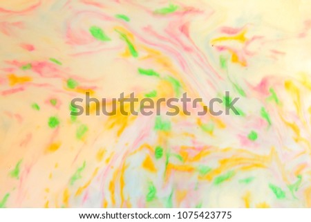 Multicolored abstract background, multicolored pattern of paints on liquid, blank for designer, paint divorces in milk, bright texture on white background, minimalism, creative blank for wallpaper #1075423775