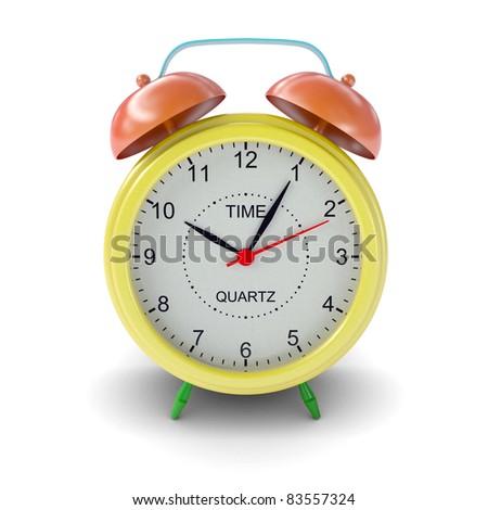 Multicolored alarm clock on white background