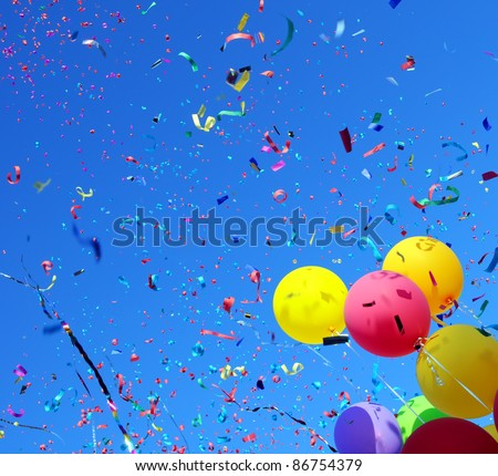 multicolored balloons and confetti in the city festival #2