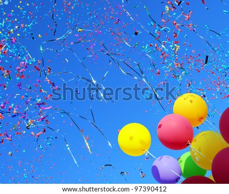 multicolored balloons and confetti in the city festival #4