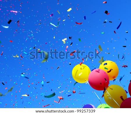 multicolored balloons and confetti in the city festival #5