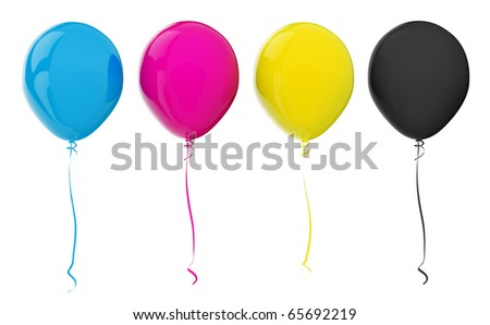 Multicolored balloons. CMYK colors
