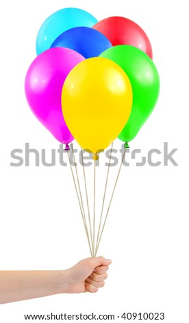 Multicolored balloons in hand isolated on white background
