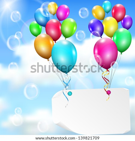Multicolored balloons with paper card on sky background with sun, clouds and soap bubbles. Raster version.