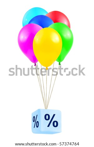 Multicolored balloons with percentage isolated on white background