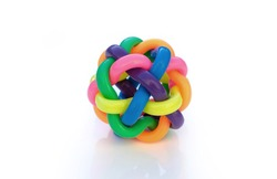 Multicolored bands interwoven to create integrated global concept