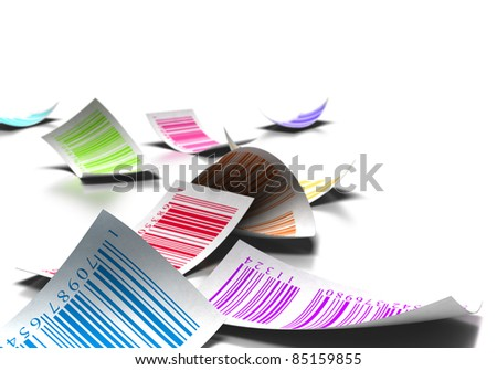 multicolored bar codes over a white background