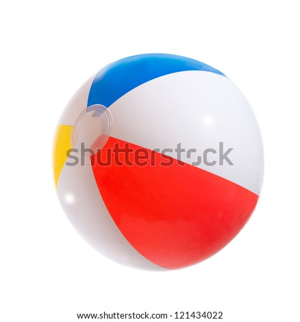 Multicolored beach ball. Isolation.