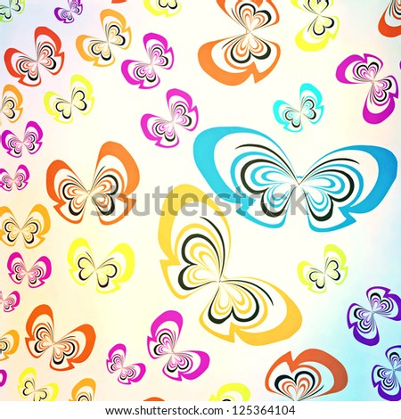multicolored butterfly casual pattern ; abstract vivid background