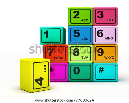 Multicolored buttons of the phone isolated on white background 3D rendering