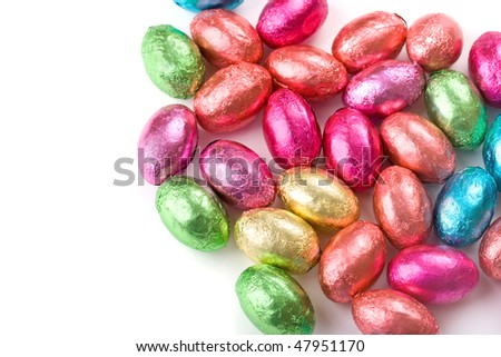Multicolored chocolate mini eggs