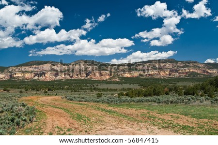 Multicolored cliffs in Carson Nat'l Forest, west of Abiquiu, New Mexico - the land that inspired Georgia O'Keeffe
