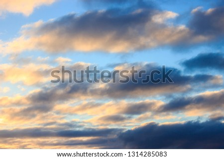 multicolored clouds at dawn. bright sky filled with sun, the morning of a new day. active awakening of the world #1314285083