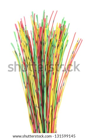 Multicolored computer and telecommunication cable isolated on white background