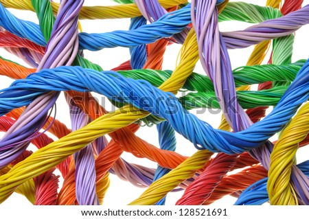 Multicolored computer cable bundles isolated on white background