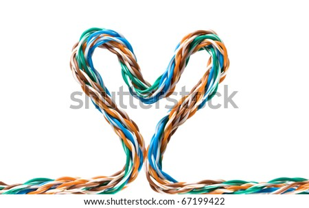 Multicolored computer cable form heart isolated on white background