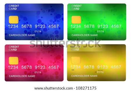 multicolored credit cards isolated on white background