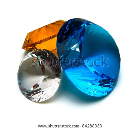 Multicolored crystals isolated on white