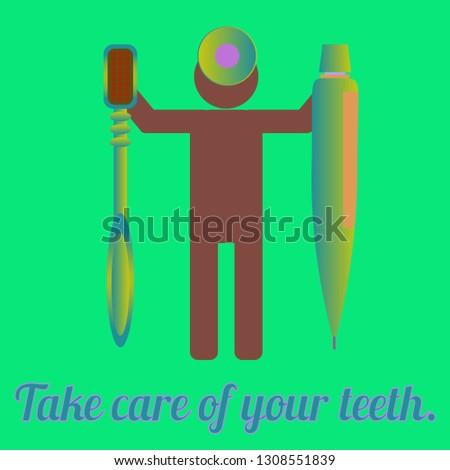 Multicolored dental medical tooth hygienical dental brush kit.