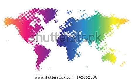Multicolored dotted world map. Raster version. Vector version is also available.