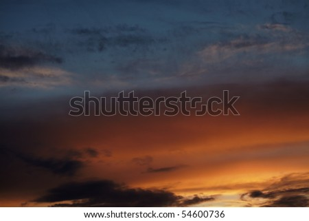 Multicolored dramatic sky, sunset after storm