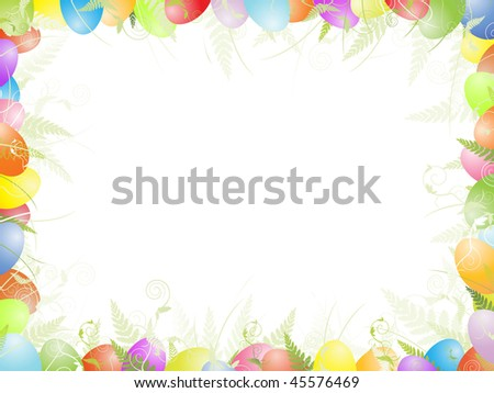 Multicolored easter frame with eggs, green foliage and copyspace for your text