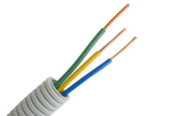 multicolored Electrical cable on isolated white background