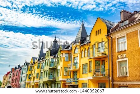 Multicolored facades of buildings in Helsinki, the capital of Finland, the traditional Scandinavian architecture, Ullanlinna, Huvilakatu Stockfoto ©