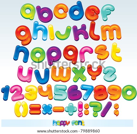 Multicolored Font, available all letters,numbers and signs - stock photo