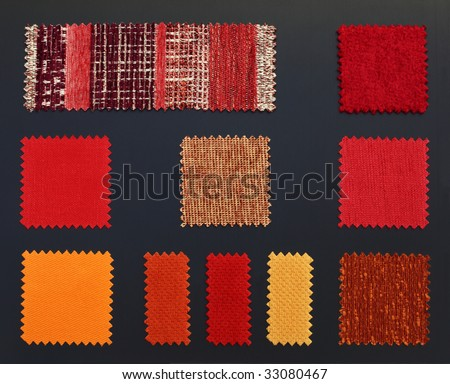 Multicolored furniture fabric samples.