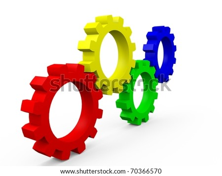 Multicolored Gears in red, yellow, green and blue