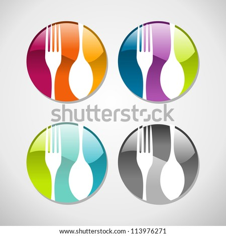Multicolored glossy food web icons set background.