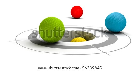 multicolored  golf balls near of a target and a hole