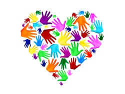Multicolored heart shape made of palms of hand isolated on white background with copy space as a symbol of love, peace, mutual help, togetherness, social ties
